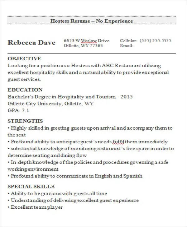 A Sample Of Resume For Job 9+ Hostess Resume Templates - Free Sample, Example Format