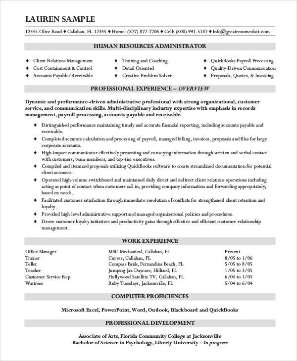 10+ HR Resume Templates - PDF, DOC Free  Premium Templates