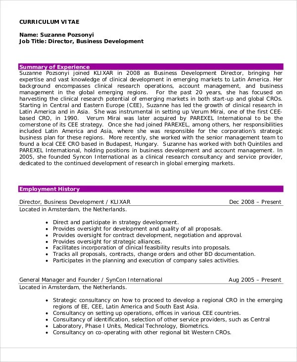 10+ Director Curriculum Vitae - Free Sample, Example Format Download - example of curriculum vitae