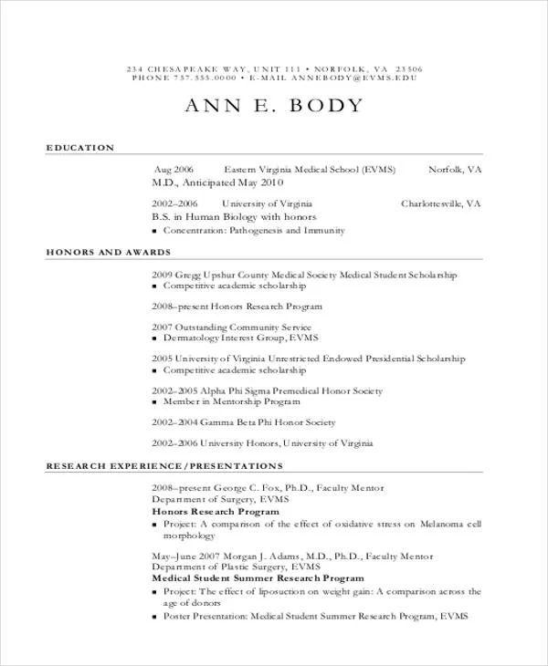 medical cv template doc