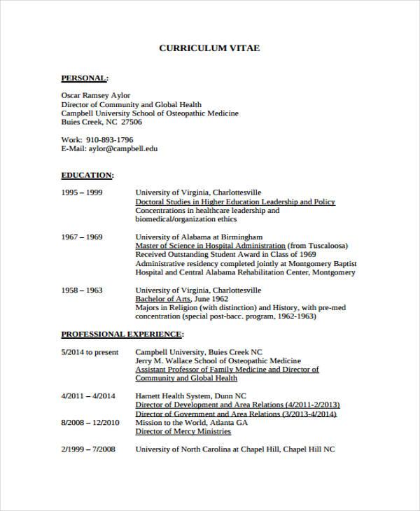 unc resume template