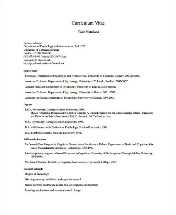 psychology cv template - Intoanysearch