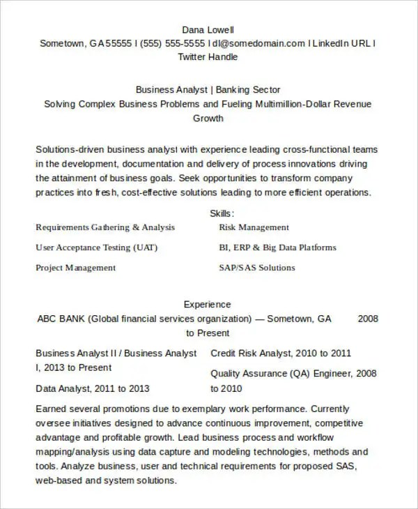 10+ Business Analyst CV Templates - PDF, DOC Free  Premium Templates - banking business analyst resume