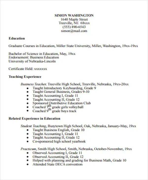 15+ Teaching Resume Templates - PDF, DOC Free  Premium Templates