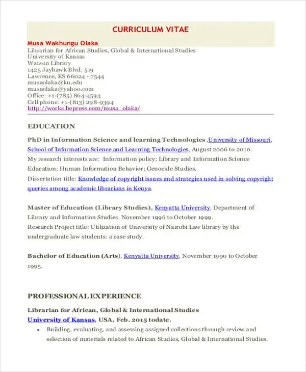 9+ Librarian Resume Templates - Free Sample, Example Format Download - sample law librarian resume