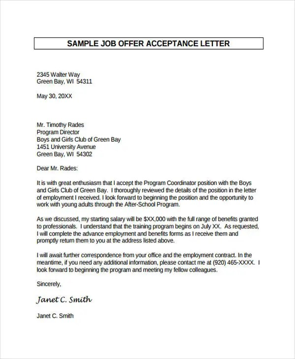 Job Offer Letter Samples Templates Word Excel Examples Creative - employment offer letters