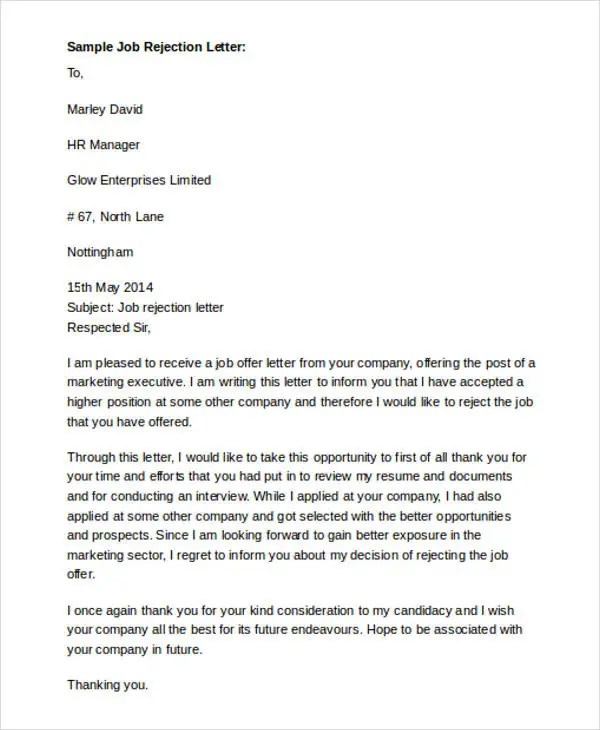 7+ Formal Rejection Letter Templates - Free Word, PDF Format