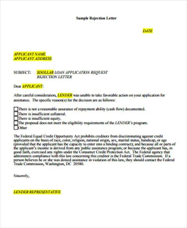 Loan Rejection Letters - 10+ Free Sample, Example Format Download