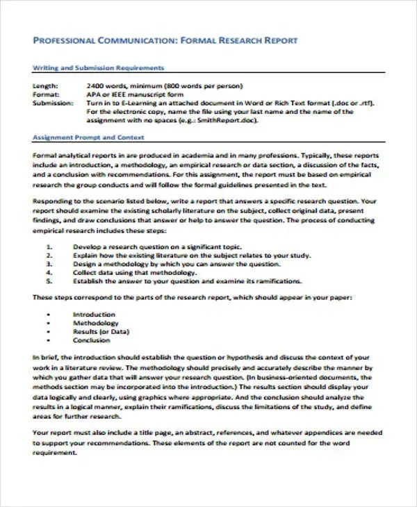9 research report formats free sample example format download