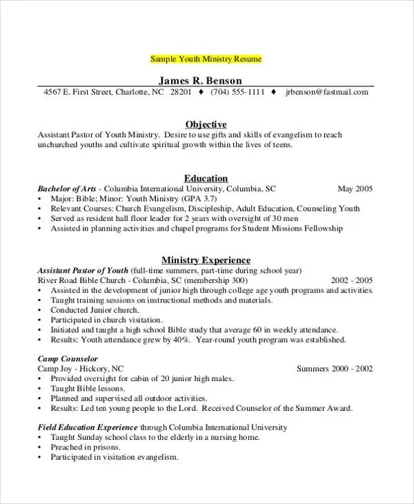 9+ Camp Counselor Resume Templates - PDF, DOC Free  Premium Templates - youth counselor resume