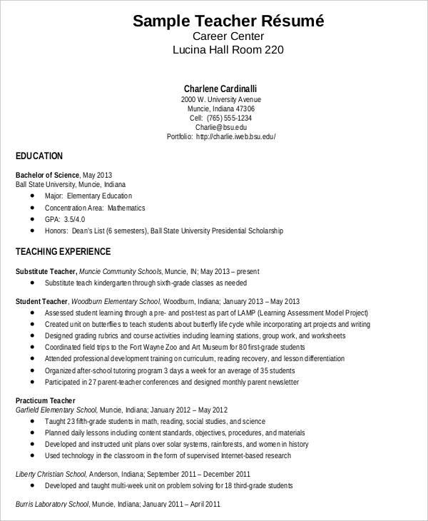 resume for fresher teacher job