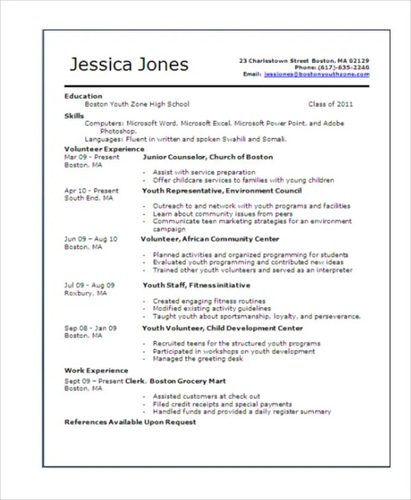 15+ Teenage Resume Templates - PDF, DOC Free  Premium Templates - teenage resume templates