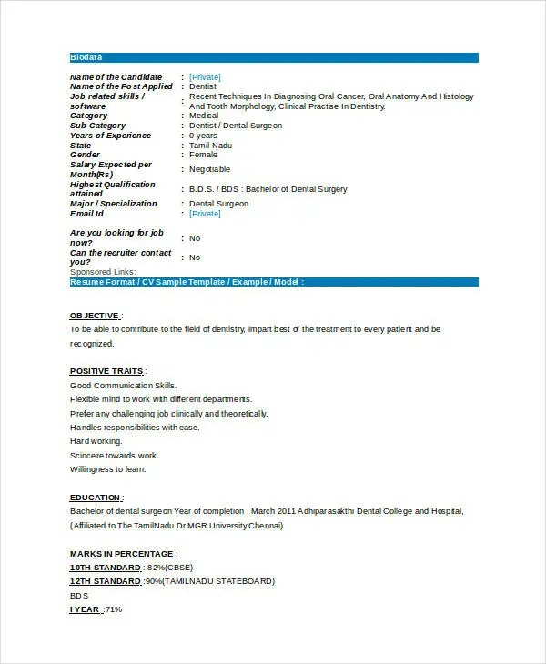 Dentist Curriculum Vitae Templates - 8+ Free Word, PDF Format - dental resume format