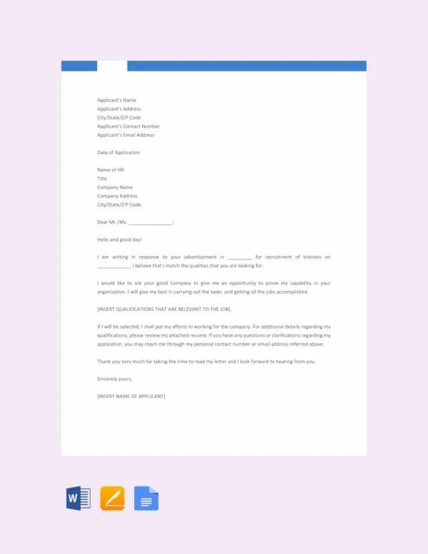 11+ Sample Job Application Letters for Fresher Graduates - PDF, Word