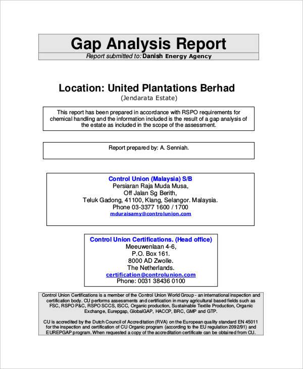 9+ Gap Analysis Report Templates - Free Sample, Example Format - analysis report template