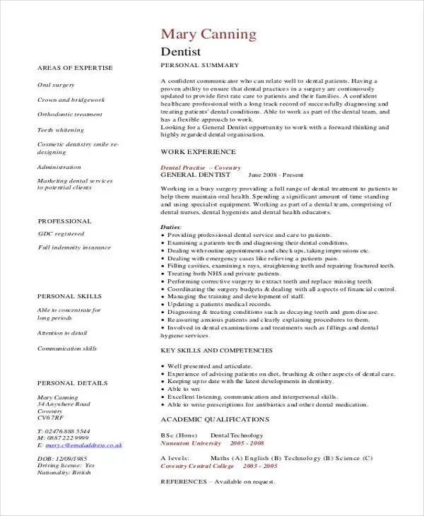 dentist cv - Selol-ink