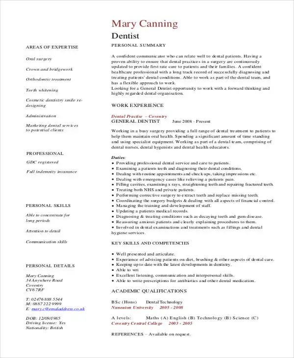 resume of a dentist