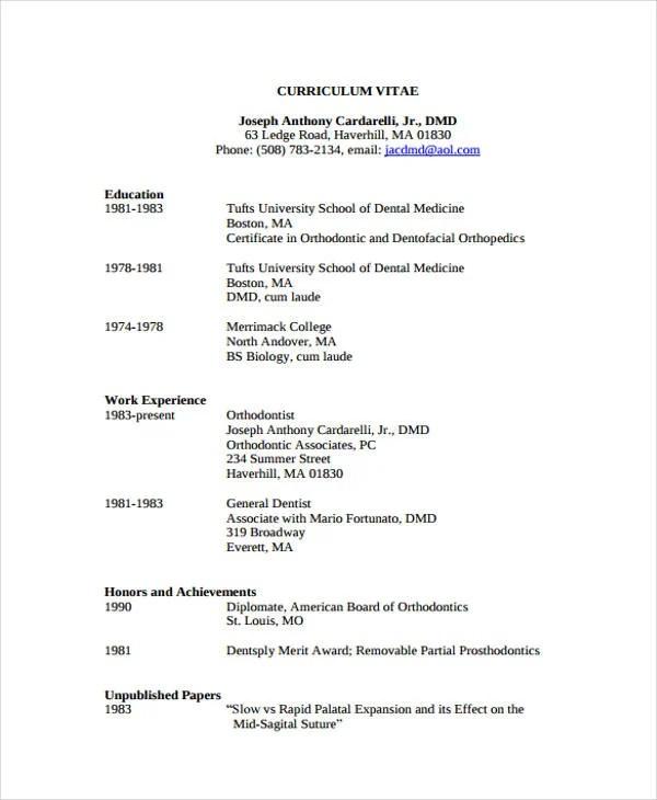 8+ Dentist Curriculum Vitae Templates - PDF, DOC Free  Premium