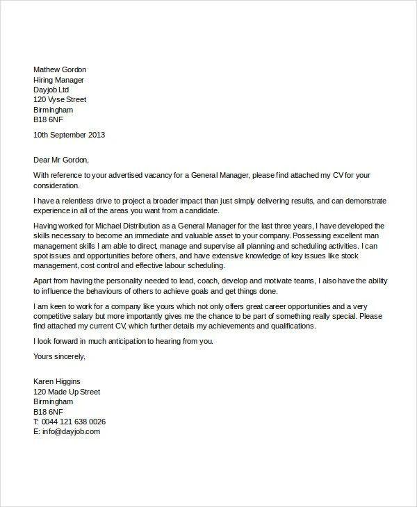 job application cover letter template uk