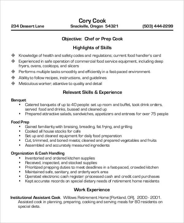 Cook Resumes - 9+ Free Word, PDF Format Download Free  Premium - resume for a cook