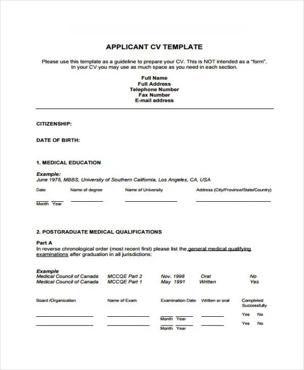 Doctor Curriculum Vitae Template - 9+ Free Word, PDF Document