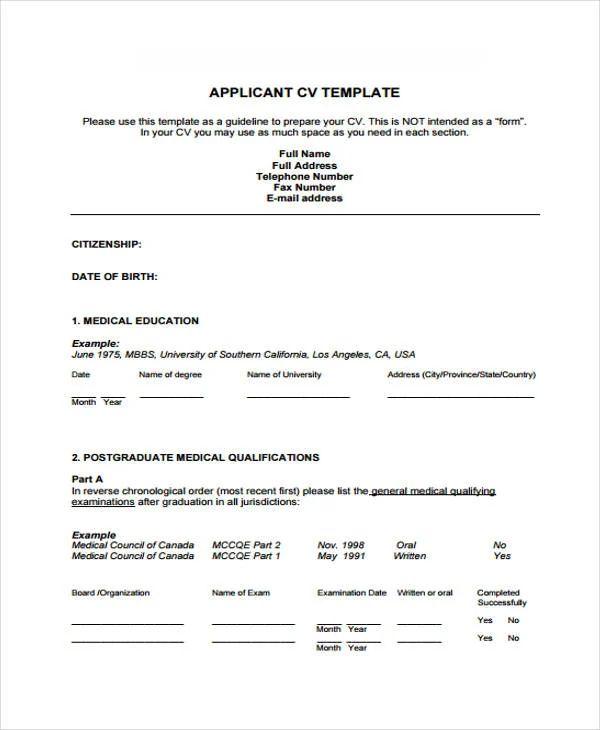 doctors cv format