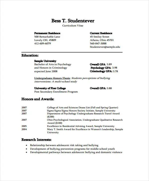 curriculum vitae templates for students - Trisamoorddiner