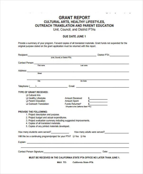 grant reporting form template - 28 images - sle grant report form 8
