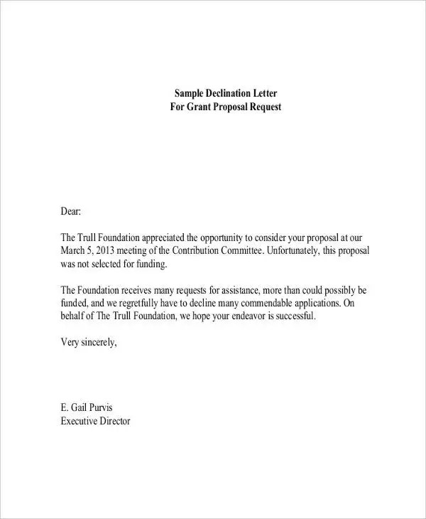 6+ Grant Rejection Letters - Free Sample, Example Format Download - funding request form