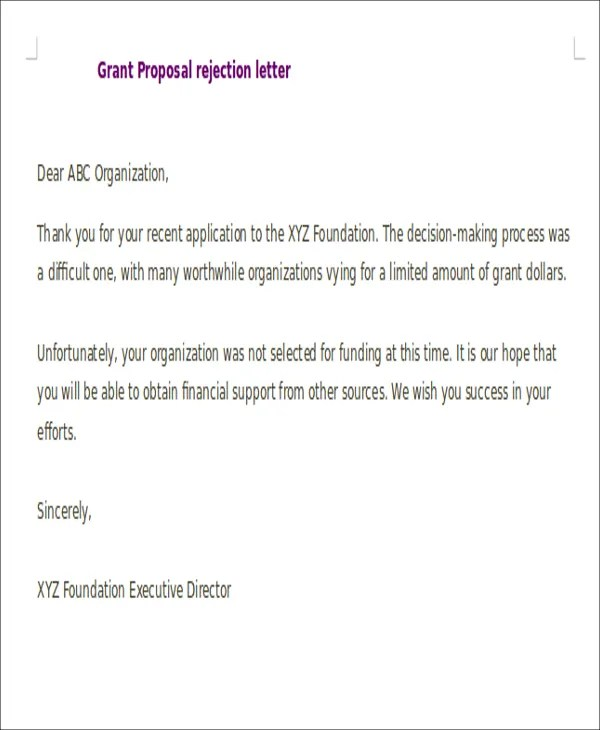 Proposal Rejection Letters - 7+ Free Sample, Example Format Download