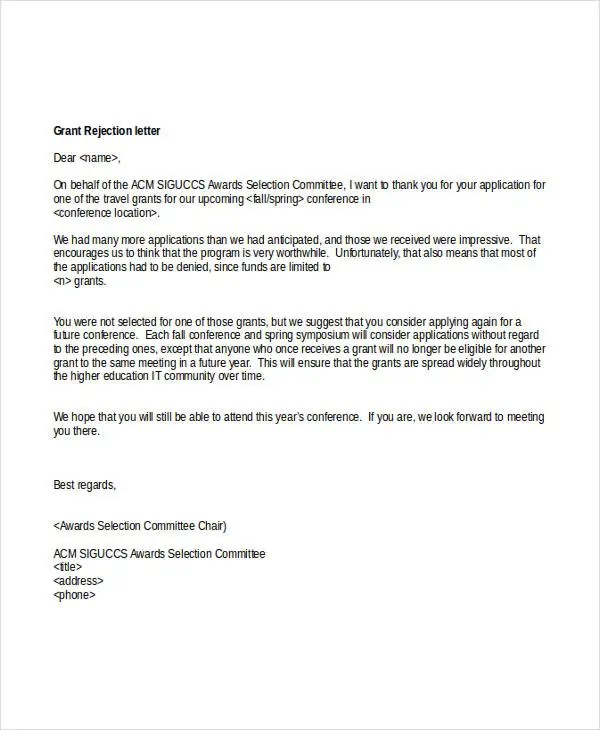 6+ Grant Rejection Letters - Free Sample, Example Format Download - rejection letter sample