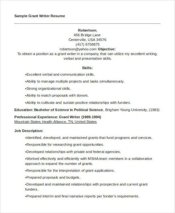 sample resume for a content writer
