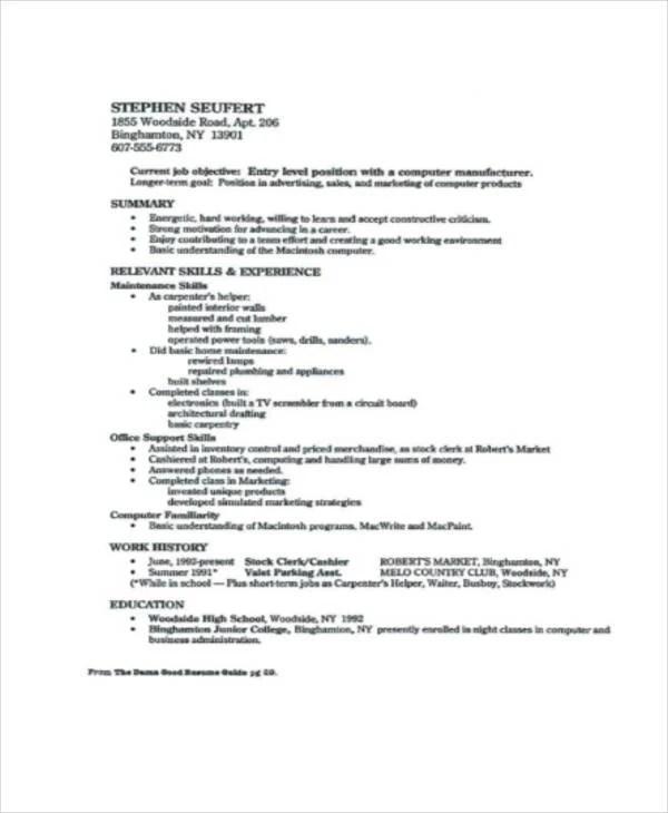 Resume For High School Graduates, resume objective for recent high - recent high school graduate resume