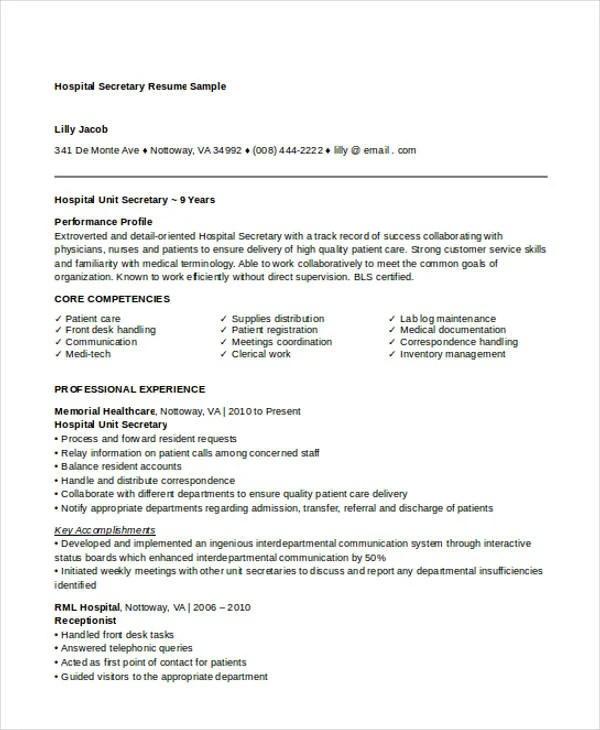 10+ Secretary Resume Templates - Free Sample, Example Format - unit secretary resume