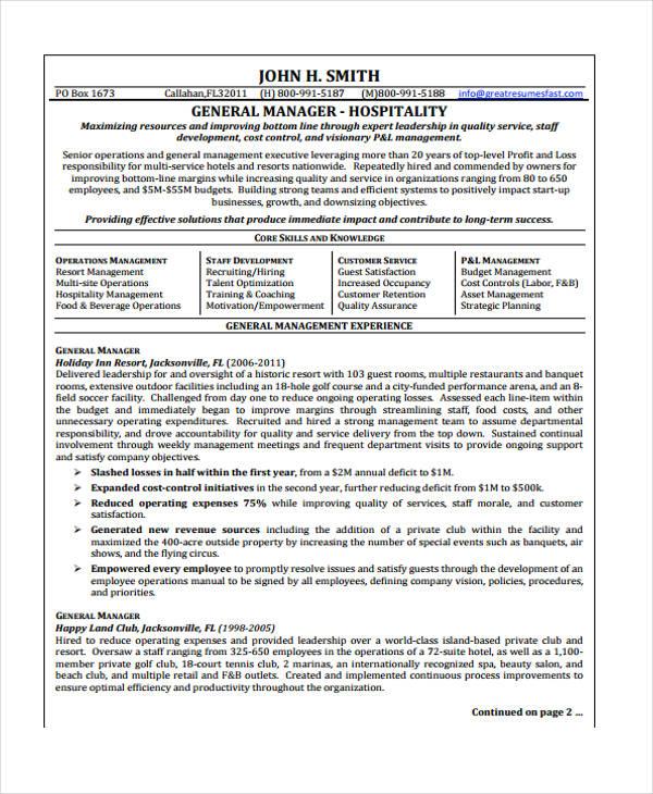 Hospitality Curriculum Vitae Templates - 10 Free Word, PDF Format