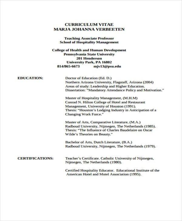 9+ Hospitality Curriculum Vitae Templates - PDF, DOC Free - sample hotel management resume