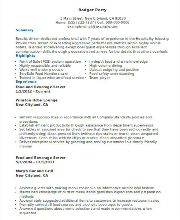 10+ Server Resume Templates - PDF, DOC Free  Premium Templates - Hospitality Resume
