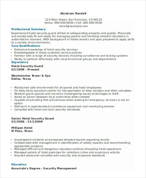sample resume of night security guard