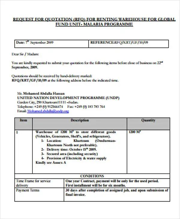 rental quotation format