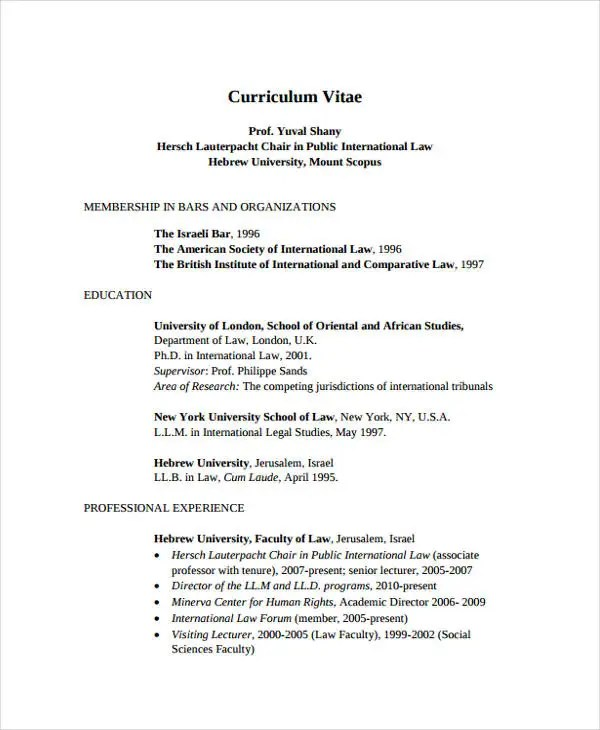11+ Sample Law CV Templates - PDF, DOC Free  Premium Templates - law resume template