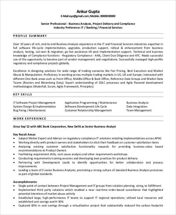 Agile Business Analyst Sample Resume