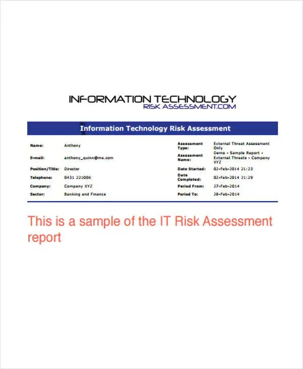 10+ IT Report Templates - Free Sample, Example Format Download - assessment report format
