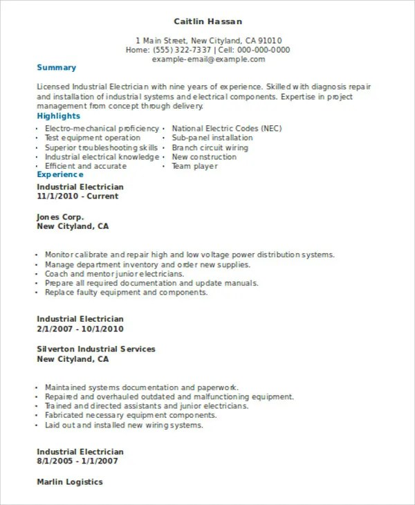 Electrician Resume Format electrician resume samples sample - electrician resume template