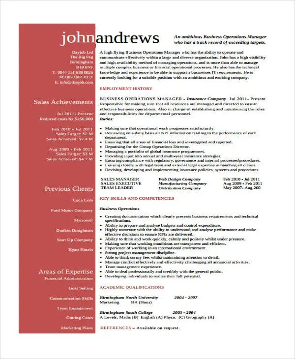 operations manager resume pdf clinical operations manager cover