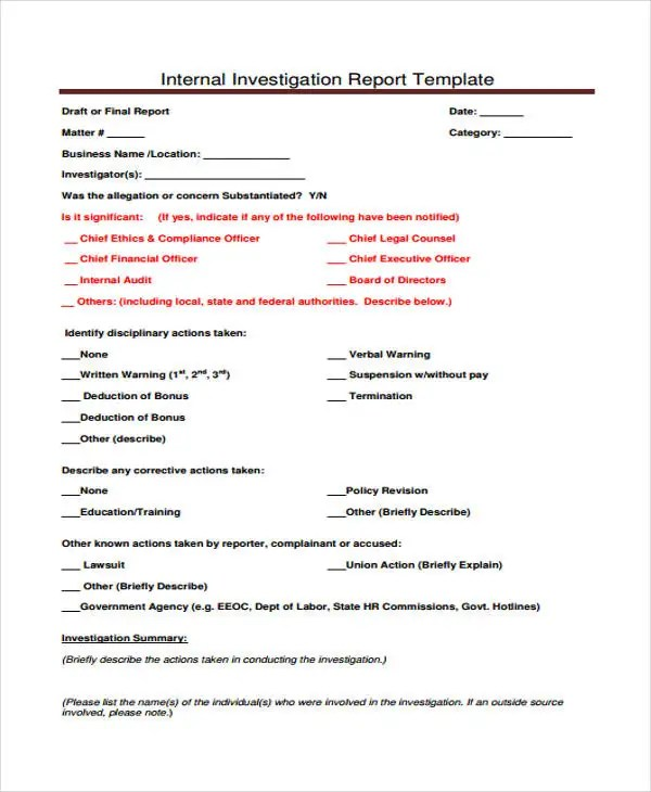 9+ Investigation Report Templates - Free Sample, Example Format