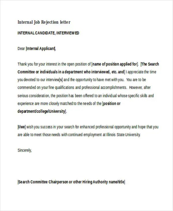 11+ Sample Job Rejection Letters Free  Premium Templates
