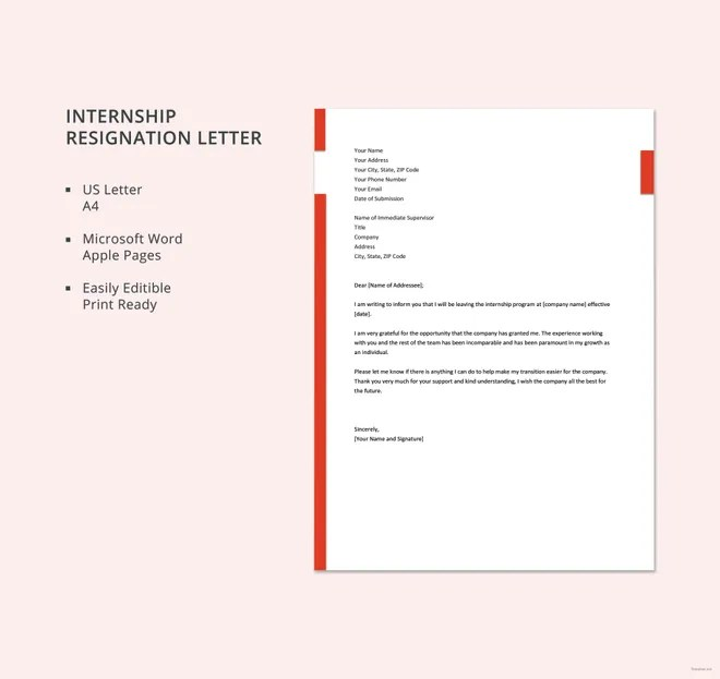 8+ Sample Internship Resignation Letters - Free Sample, Example
