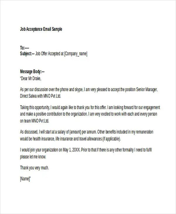 job offer email samples