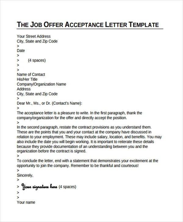 Acceptance Of Job Offer Letter Format Images - letter format formal
