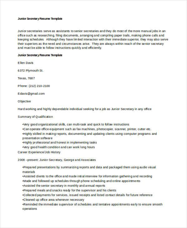 10+ Secretary Resume Templates - Free Sample, Example Format